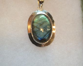 Blue Fire Labradorite Gemstone Pendant Necklace in Sterling Silver Setting