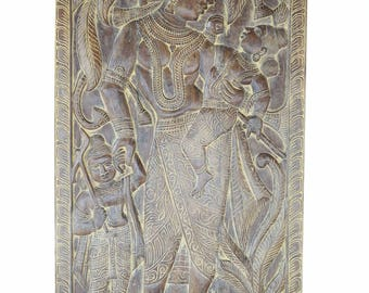 Vintage Handcarved  Mother Yasoda Talking to Krishna with Love Wall Sculpture ,Zen Panel, Barn Door, Yoga Studio Decor