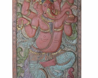 Meditation Yoga Barn Door Vintage Carved Ganesha Remove obstacles, Wall Sculpture, Panel eclecticmix Decor