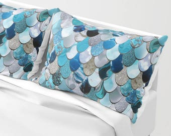 Mermaid Pillow Shams - Set of 2 - Bedding Mermaid - Available in Four Colors and Two Sizes