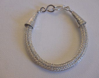 Viking knit double weave Sterling Silver bracelet hammered cones & clasp handmade