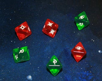 Transparent Starfighter Dice Compatible with the X-wing Miniatures Game 6 Dice