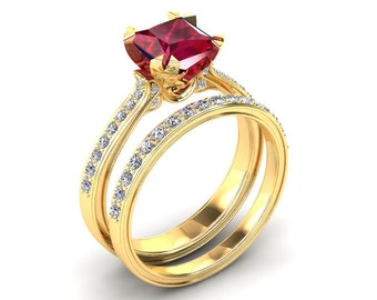 Ruby Engagement Ring 1.35 Carat Princess Cut Ruby And Diamond Ring In 14k or 18k Yellow Gold. Matching Wedding Band Available SW12RUBYY