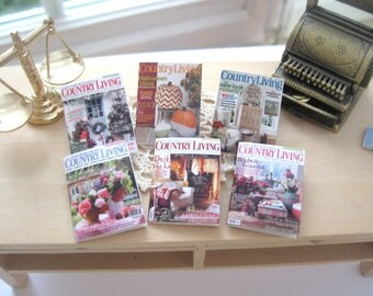 dollhouse magazines country 12th scale miniature  x 6  for dollhouse not life sized