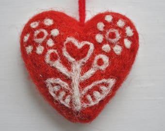 Swedish Felted Wool Heart Ornament Folk Art