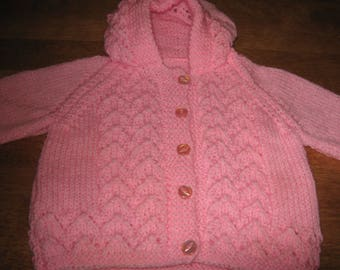 New Hand Knit Lacy Pattern Baby Sweater with Hood