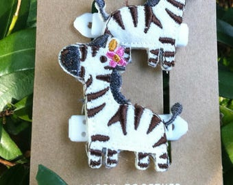 Girls Wild Zebra Hair Clips