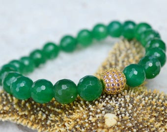 Green Agate and CZ Pave Bracelet- Gemstone Stacking Bracelet- Stacker Bracelet- Stretch Cord Design