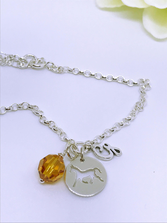 personalised birthstone horse charm bracelet sterling silver