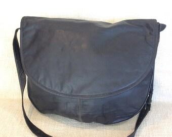 Genuine vintage J Jill black leather messenger travel book bag carry all
