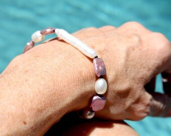 Lavender and White Freshwater Pearl Bracelet with Sterling Silver Clasp
