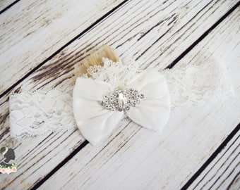 Handcrafted White Wedding Headband - Peacock Feather Accessory - White Christmas Accessory - Holiday Headband - Vintage Style Baby Girl Bows