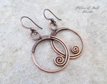 Wire wrapped earrings / Solid copper earrings / wire wrapped jewelry handmade / wire jewelry / copper jewelry earthy boho
