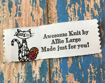 Cat Knitting Labels, Quilting Labels, Crochet Fabric Labels, Woven Labels, Personalized Labels for Crafts, Sewing Labels, Cat Woven Labels