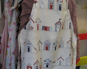 Handmade Beach Hut print adult apron