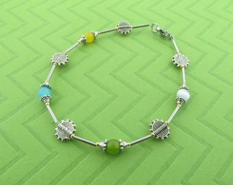 stainless steel pewter and cateye anklet ankle bracelet. avail in 9.5 and 10.5 inches