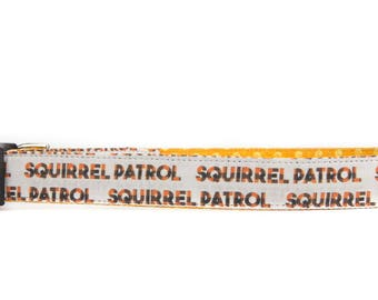 Squirrel dog collar, fall dog collar for boys, squirrel patrol, orange dog collar, autumn dog collar for girls, nature dog collar