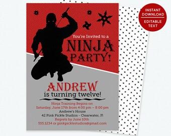 Ninja Birthday Invitations / Ninja Birthday Party / Ninja Invitation / Ninja Birthday / Ninja Party / Instant Download, Printable Invite |42