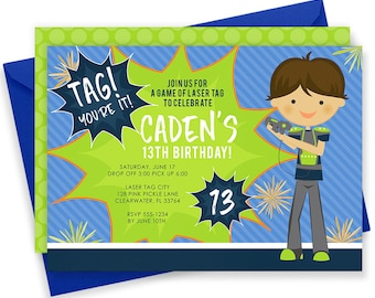 Laser Tag Invitation, Laser Tag Party, Laser Tag Birthday Invitations, Laser Tag Invites, Laser Tag Birthday,Laser Tag,Laser Tag Invite |128