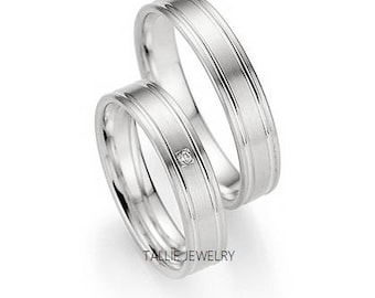 Platinum His and Hers Wedding Rings,Matching Wedding Bands,Platinum Diamond Wedding,Platinum Wedding Bands