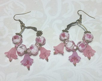 15% OFF SALE Pink Floral Dangle Earrings
