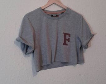 Re worked  F cropped t shirt