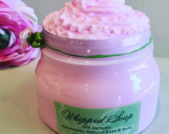 Whipped Soap In A Jar, Handmade by SPA Uptown:Green Tea Ginger Apricot Pink Grapefruit, bergamot etc