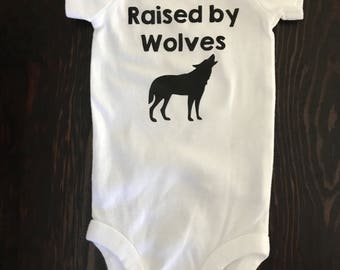 Free shipping! Raised by Wolves onesie- all black vinyl