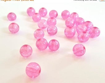 50% OFF Pretty Pink Round Glass Beads.  8mm in Size.  19 Beads.  Pretty in Pink!!  Basic But Very Nice!!