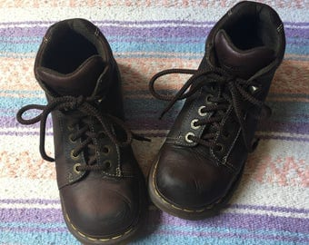 Women's Chunky Brown Leather Dr. Martens Combat Lace Up Boots, Women's Size 8