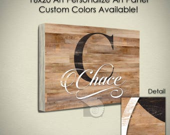 Personalized Sign, custom Family Name sign, farmhouse decor, 16x20 , kitchen decor, wooden sign, rustic decor, monogram gift, digital design