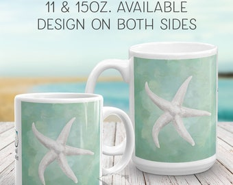 Starfish Art, coffee mug, starfish painting, watercolor painting, art mug, art gifts, watercolors, coastal art, coastal gifts, nature