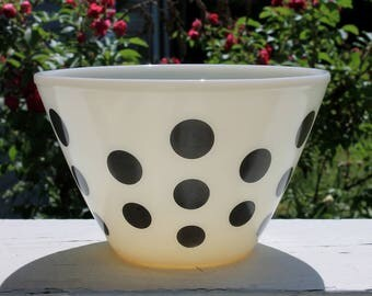 Gorgeous Vintage Black Polka Dot Splash Proof Ivory Mixing Bowl by Fire King
