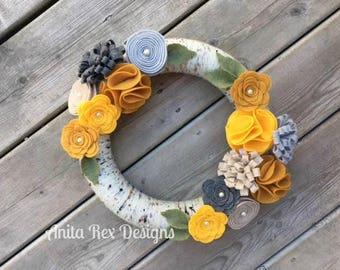 Yarn Wreath, Mustard Yellow Grey Felt Flowers, Wreath, Year Round Wreath, All Season Decor, Handmade Wreath