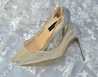 Swarovski Crystal Mesh See through Silver Glitter Bridal High Heel Stiletto Luxury Nude Red Sole Pump