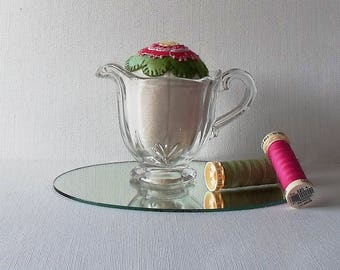 Handmade Pincushion Felted Wool Bright Pink and Green Blossom in Vintage Glass Creamer