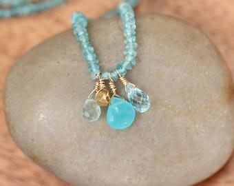 Aquamarine necklace - beaded gemstone necklace - chalcedony necklace - crystal necklace - gemstone necklace