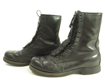 Vintage 70s Military Combat Boots Mens 10 Black Leather Oil Proof Addison Shoe [H41I_4-5_Leather]