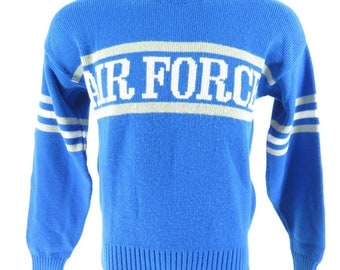 Vintage 80s Cliff Engle Air Force Sweater Mens S Deadstock Blue USA Made Orlon [H19T_1-2_Shelf]