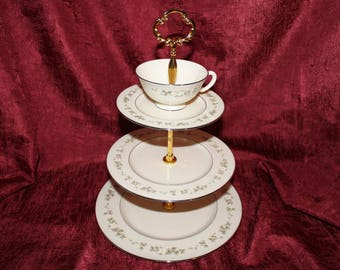 Lenox Brookdale  Tiered Stand, Tea Party Plate,  Tiered Cupcake, Bonbon or Jewelry Stand, Wedding Table Tidbit Tray, Bridal Shower