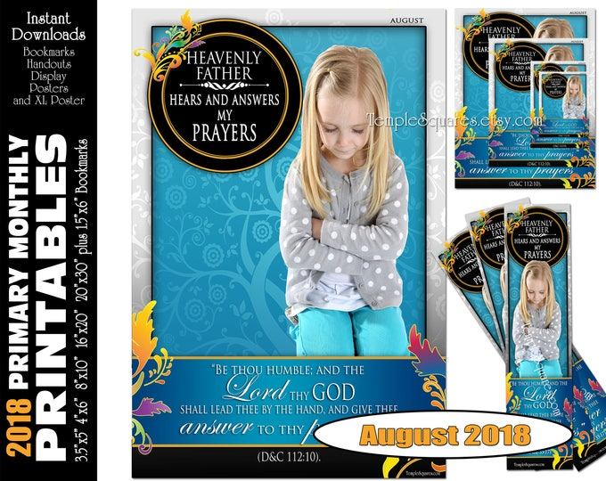 Printable Primary Monthly Posters August 2018 I am a Child of God Poster Bookmark and Handouts 5 sizes XL poster size down to handout size