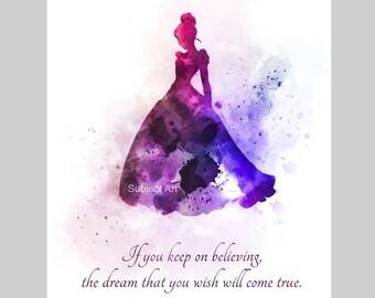 Cinderella Quote ART PRINT illustration, Princess, Dress, Dream, Wish, Wall Art, Home Decor, Gift