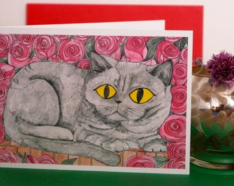 Maibel , Hand Illustrated Cat Greetings Card , Cat Card, British Short Hair Cat Card, Illustrated Cat Card, Grey Cat Card, Card
