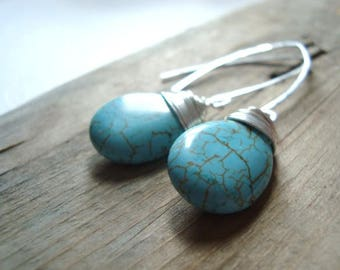 Turquoise Hook Earrings Sterling Silver Wire Wrapped Gemstone December Birthstone Modern Beachy Boho Style Gifts Under 40 Bohemian
