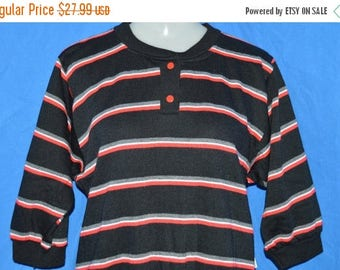 ON SALE 90s Black Gray Red Striped Half-Sleeve Henley Sweatshirt Women's Small