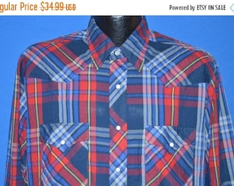 ON SALE 80s Wrangler Red Blue Yellow Plaid Pearl Snap Shirt Large