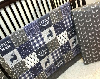 3 Pc Baby Toddler Woodland Quilt, Fitted Sheet & Changing Pad Cover Crib Set, Navy Grey White Baby Bedding, Baby Boy Crib Bedding Buck Theme