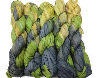 New! Sari Silk Ribbon, 100g ,Lemon/Lime/Grey