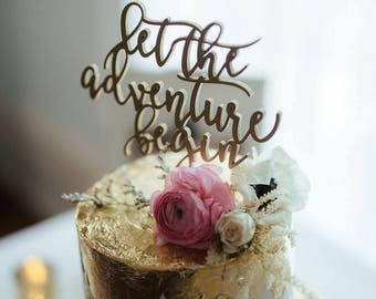 """Let the adventure begin Cake Topper 6.5"""" inches, Wedding Cake Topper, Travel Cake Topper, Rustic, Cute, Unique Toppers by Ngo Creations"""