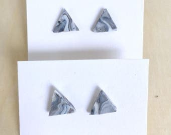 Gray and white marble triangle studs